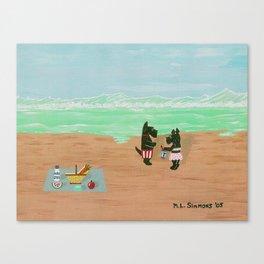 Seaside Scotties-Scottish Terriers Canvas Print