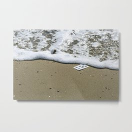 Playing card on the beach Metal Print