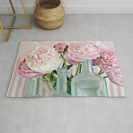 Peonies Shabby Chic Cottage Pink Aqua Peony Bottles Art Print Home Decor Rug