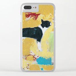 Boston Terrier Painting Art Clear iPhone Case