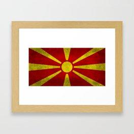 """Flag of Macedonia in """"Super Grunge"""" Framed Art Print"""