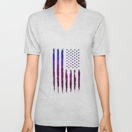 Gradient grunge American flag Black ink Unisex V-Neck