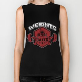 Weights Before Dates Weightlifting Barbell Bodybuilding Workout Gym Gift Biker Tank