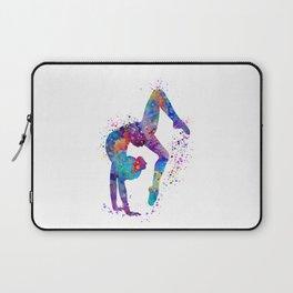 Girl Gymnastics Tumbling Colorful Watercolor Artwork Laptop Sleeve