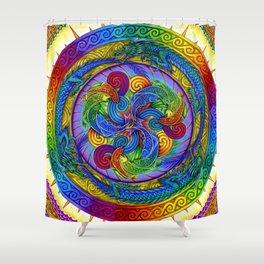 Psychedelic Dragons Rainbow Spirals Mandala Shower Curtain