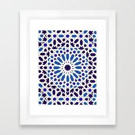 V19 Epic Light Blue Traditional Moroccan Pattern Design . Framed Art Print