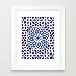 V19 Epic Light Blue Traditional Moroccan Pattern Design . Framed Art Print