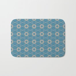 Classic Blue and Cappuchino Repeat Pattern Bath Mat