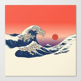 The Great Wave of Corgis Canvas Print