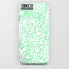 Pastel Green and White Mandala Pattern iPhone Case