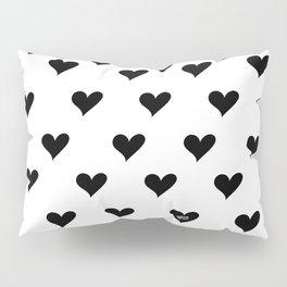 Retro Hearts Pattern Black White Pillow Sham