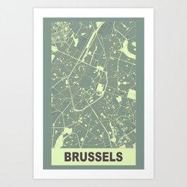 Brussels, Belgium, city map, Mantle grey Art Print