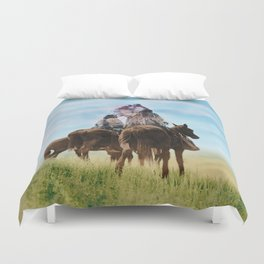 Cheyenne Warriors on the Great Plains - American Indians Duvet Cover