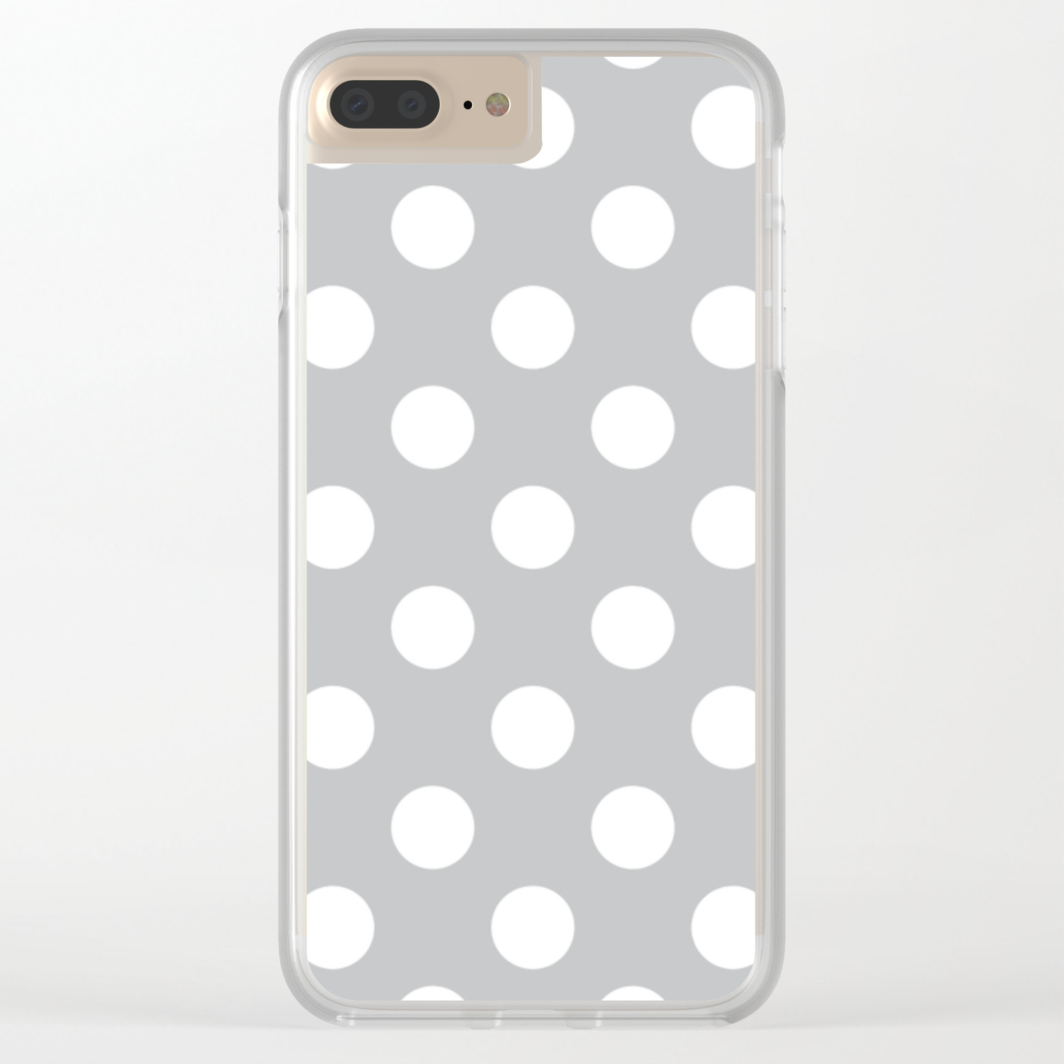 Silver Sand Grey White Polka Dots Pois Pattern Clear Iphone Case