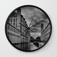 regina mills Wall Clocks featuring Yorkshire Mills by Sandra Cockayne Photography