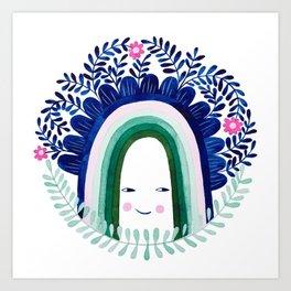 floral blue rainbow watercolor illustration Art Print