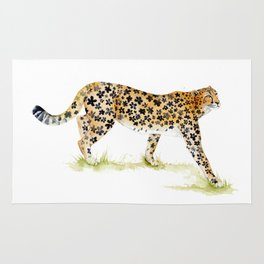 Flower Pattern Cheetah Rug