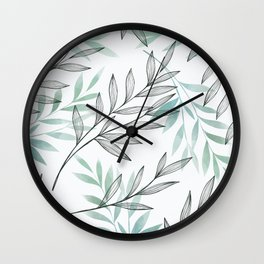 Nature branches with blue gray leaves Wall Clock