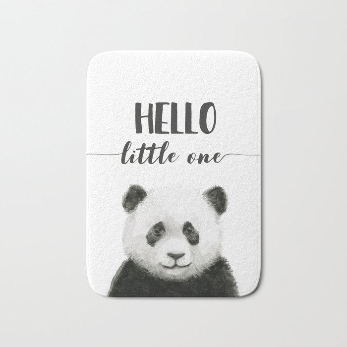 Panda Art Print Baby Animals Hello Little One Nursery Decor Bath Mat
