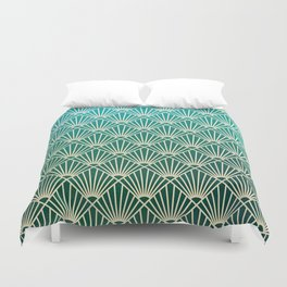Teal golden Art Deco pattern Duvet Cover