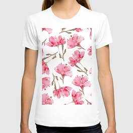Abstract Digital Watercolor Painting Pink Carnation Blooms on White Pattern T-shirt