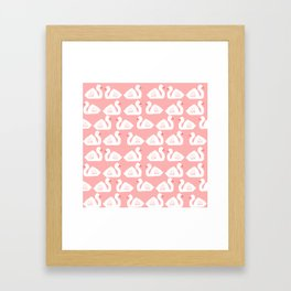 Swan minimal pattern print pink and white bird illustration swans nursery decor Framed Art Print