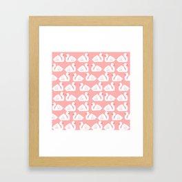 Swan minimal pattern print pink and white bird illustration swans nursery decor Framed Art Print