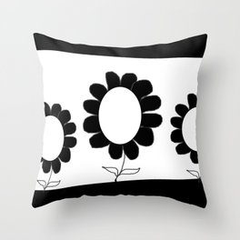 Simple Black and White Flowers Throw Pillow