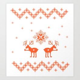 Winter ornament with deer and snowflakes Art Print
