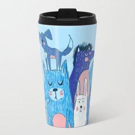 Blue and light blue friends Travel Mug