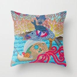 CreepyFish Throw Pillow