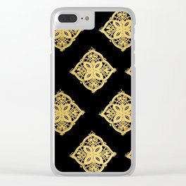 Black and Gold Repeating Tile Digital Design Clear iPhone Case