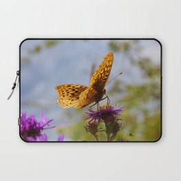 Butterfly and Asters Closeup Laptop Sleeve