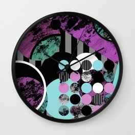 Bits N Pieces II - Abstract, geometric, textured, stripes, cyan, blue, pink, black, artwork Wall Clock