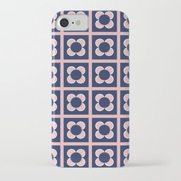 Scandi Flower Minimalist Mid Century Floral Pattern 2 in Pink, White, and Navy Blue iPhone Case