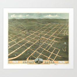 Vintage Pictorial Map of Bowling Green KY (1871) Art Print