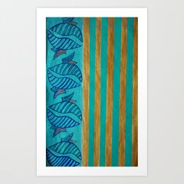 Aqualine Gold Art Print