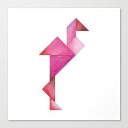 Tangram Flamingo Canvas Print