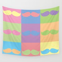 moustache Wall Tapestries featuring Moustache You by Samantha Wright
