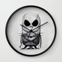 jack skellington Wall Clocks featuring Mini Jack Skellington by bimorecreative
