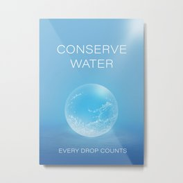 Water Conservation Poster Metal Print