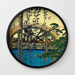 Hiroshige View Of Bridge Over Water Wall Clock