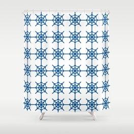 Radial Arrows Clover Patterns - Lapis Blue Shower Curtain