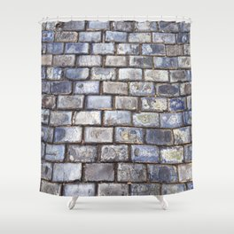 Old San Juan Blue Cobblestone Streets Shower Curtain