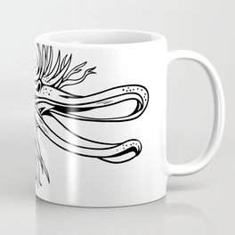 Angry Kiwi Bird Head Cartoon Black and White Coffee Mug