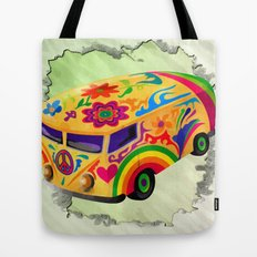 The Flower Power Mini Bus Tote Bag