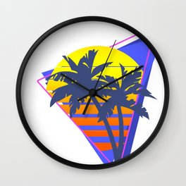 Synthwave Retrowave Sunset with palms 80s style design Gift print Wall Clock