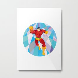Superhero Running Punching Low Polygon Metal Print