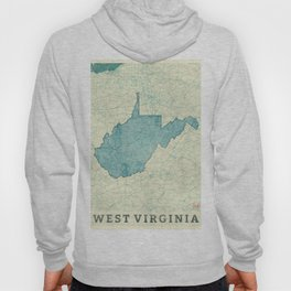 West Virginia State Map Blue Vintage Hoody