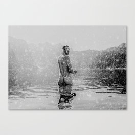 Alpine Snow Lake Nude Canvas Print